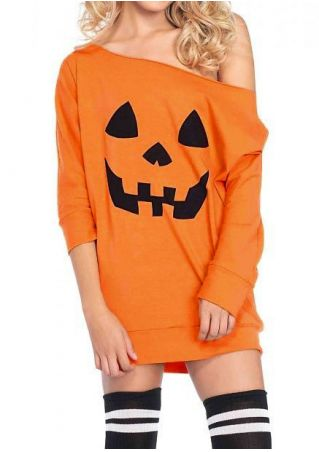 Halloween Pumpkin Face One Shoulder Casual Dress