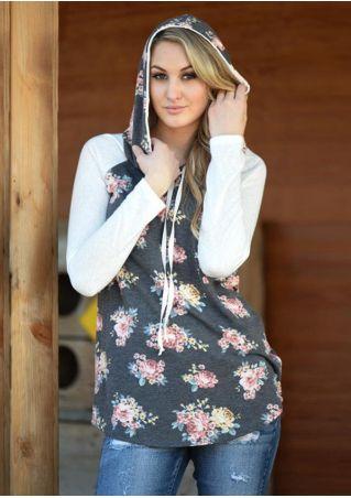 Floral Splicing Drawstring Long Sleeve Hoodie