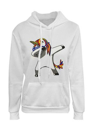 Unicorn Drawstring Pocket Long Sleeve Hoodie