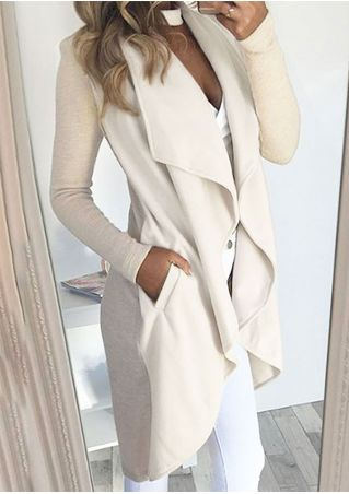 Solid Pocket Knitted Long Sleeve Coat without Necklace