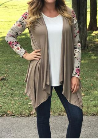 Floral Splicing Asymmetric Long Sleeve Cardigan