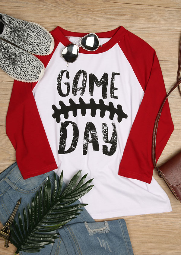 Game Day O Neck Baseball T Shirt Fairyseason