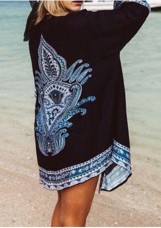 Totem Printed Three Quarter Sleeve Cardigan
