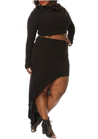 Plus Size Solid Asymmetric Two-Piece Dress