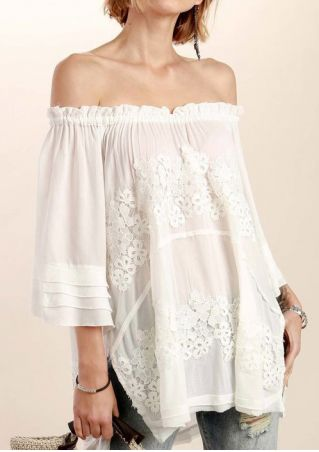 Solid Applique Off Shoulder Blouse