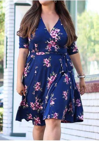 Plus Size Floral Wrap V-Neck Casual Dress