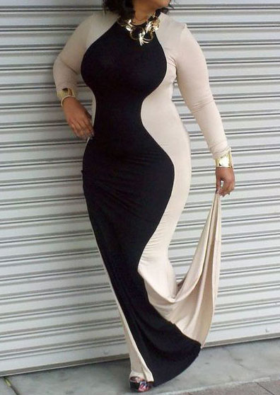 Plus Size Color Block Splicing Maxi Dress without Necklace ...