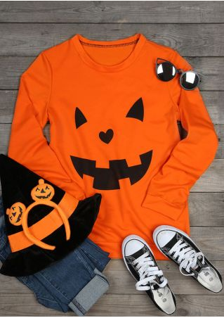 Halloween Pumpkin Face O-Neck Sweatshirt