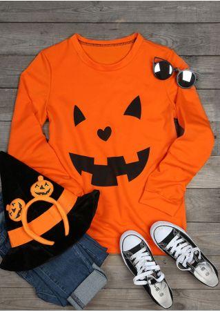 Halloween Pumpkin Face O-Neck Sweatshirt