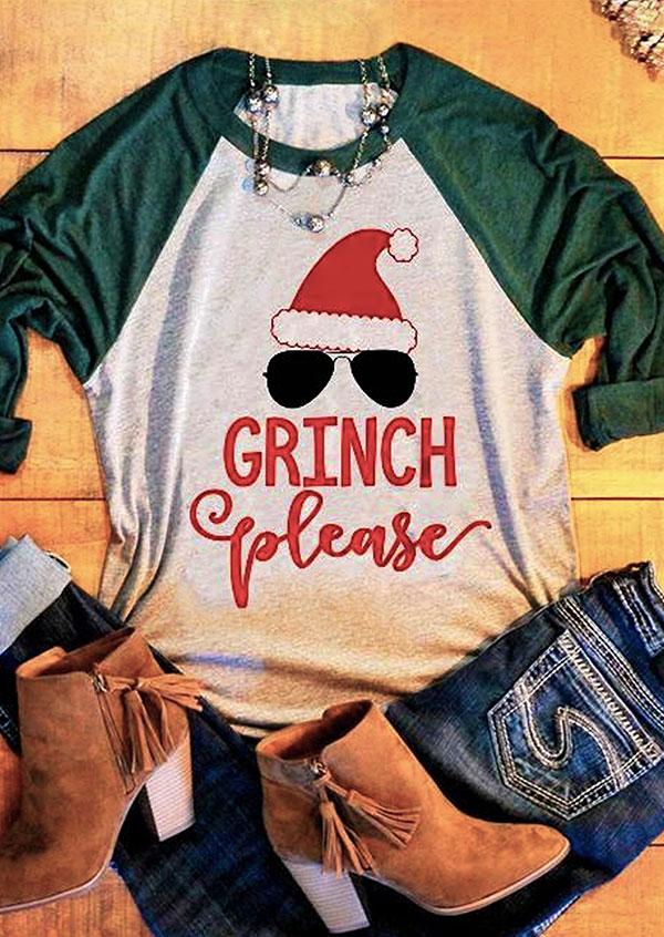 Christmas Grinch Please Baseball T Shirt Fairyseason