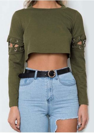 Solid Lace Up Crop Top