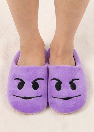 Image of Emoji Embroidery Warm Flat Slippers