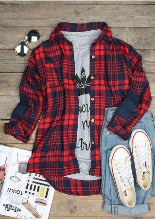 Plaid Elbow Patch Long Sleeve Shirt