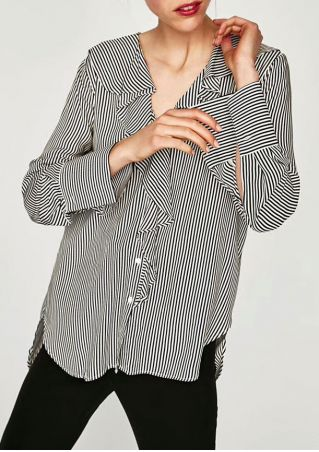 Striped Flouncing Button Long Sleeve Shirt