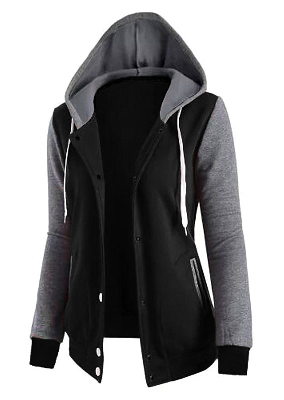 Image of Color Block Drawstring Pocket Hooded Coat