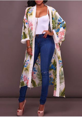 Floral Splicing Cardigan without Necklace