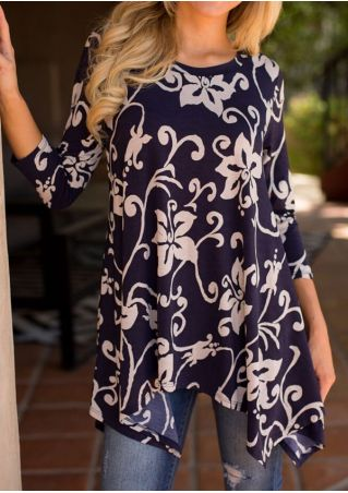 Floral Asymmetric Three Quarter Sleeve Blouse