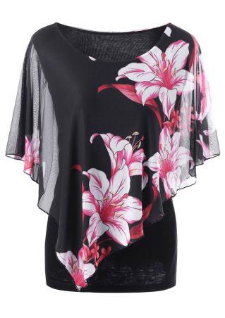 Plus Size Floral Mesh Splicing O-Neck Blouse