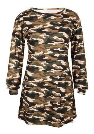 Camouflage Printed O-Neck Mini Dress Camouflage