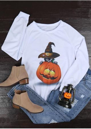 Halloween Pumpkin Face Long Sleeve Sweatshirt