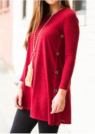 Solid Button Long Sleeve Blouse without Necklace Solid