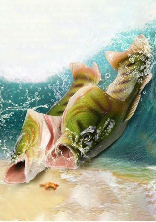 Emulational Fish Flat Slide Sandals