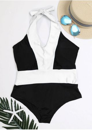 Color Block Halter Sexy Swimsuit Color