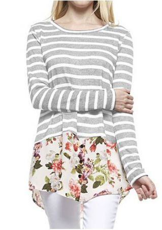 Floral Striped Splicing O-Neck Blouse