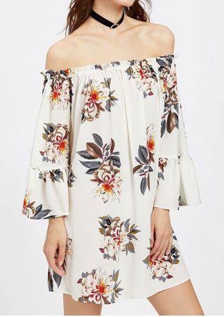 Floral Off Shoulder Mini Dress without Necklace