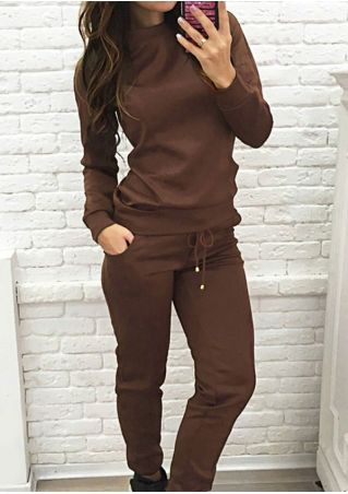 Solid Sweatshirt and Drawstring Sport Pants Set