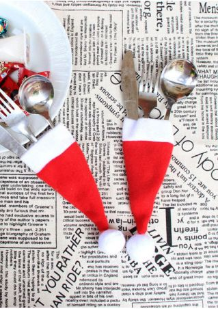 Santa Hat Tableware Holder Pocket