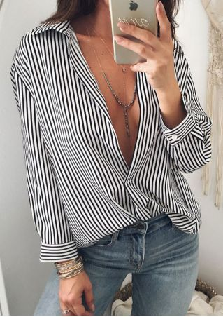 Striped Button Asymmetric Shirt without Necklace