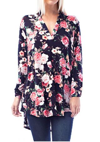 Floral Long Sleeve V-Neck Blouse