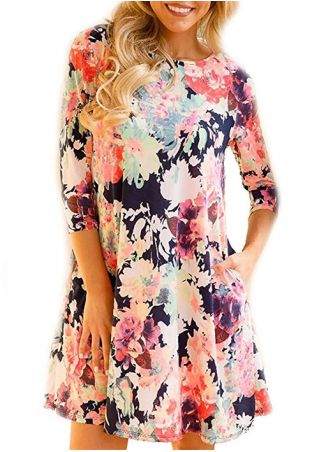 Floral Pocket O-Neck Mini Dress