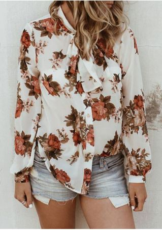 Floral Button Tie Long Sleeve Shirt