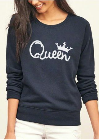 Queen O-Neck Long Sleeve Sweatshirt