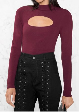 Solid Hollow Out Long Sleeve Blouse