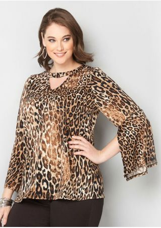 Plus Size Leopard Printed Hollow Out Slit Blouse