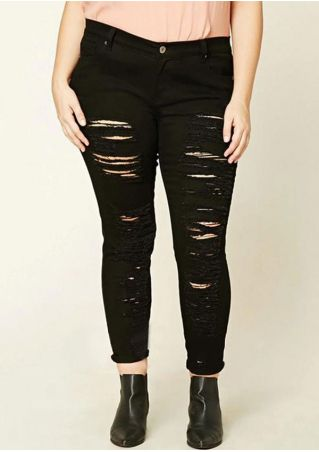 Plus Size Solid Ripped Pocket Denim Pants