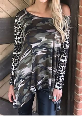 Camouflage Printed Sequined Pocket Blouse Camouflage