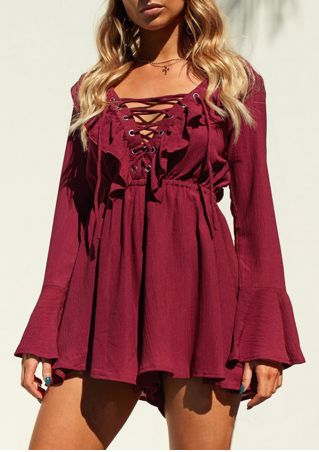 Solid Lace Up Flare Sleeve Romper without Necklace