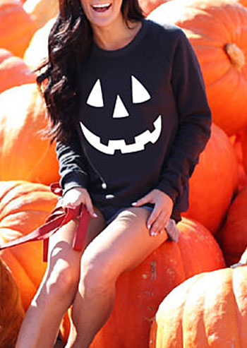 Halloween Pumpkin Long Sleeve Sweatshirt