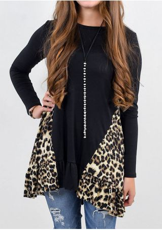 Leopard Printed Splicing Blouse without Necklace
