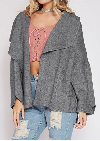 Solid Pocket Asymmetric Cardigan without Necklace