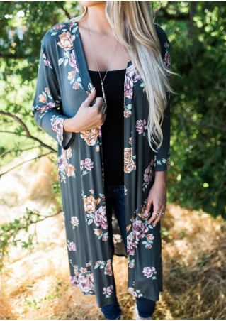 Floral Printed Cardigan without Necklace