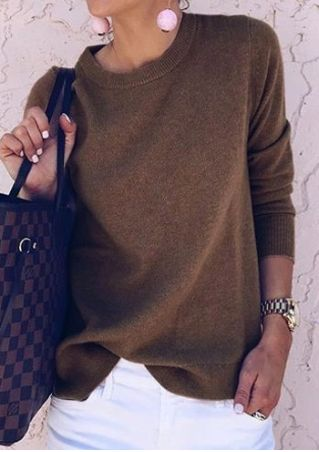 Solid O-Neck Long Sleeve Sweater