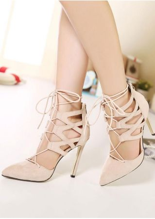 Solid Lace Up Zipper Heeled Sandals