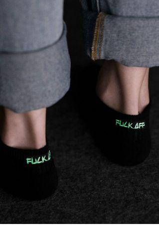 Fluorescent Fuck Off Embroidery Short Socks