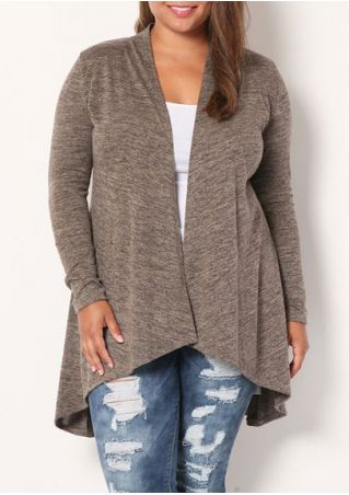 Plus Size Asymmetic Long Sleeve Cardigan