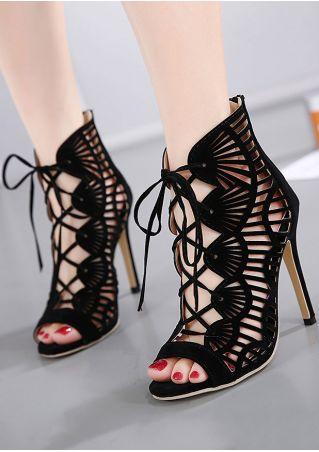 Solid Hollow Out Peep Toe Heeled Sandals